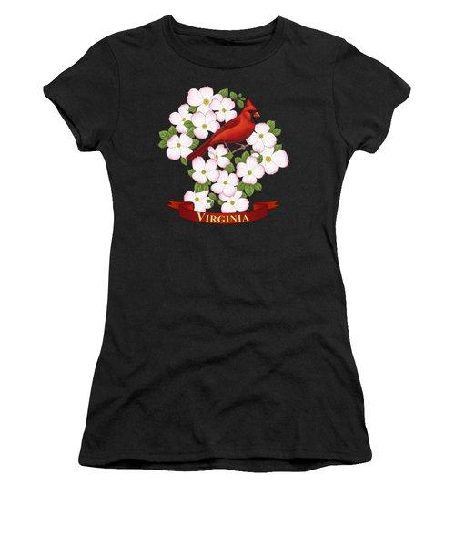 Virginia State Bird Cardinal And Flowering Dogwood Women's T-Shirt