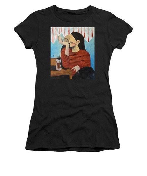 Vitae Woman Drinking Tea Women's T-Shirt (Athletic Fit)