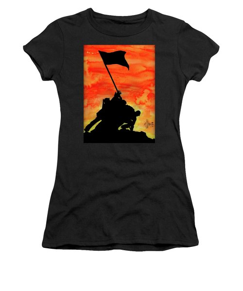 Women's T-Shirt (Junior Cut) featuring the painting Vj Day by P J Lewis