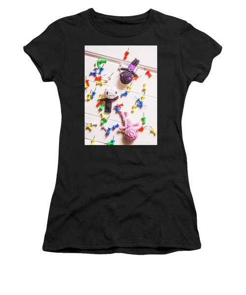 Voodoo Dolls Surrounded By Colorful Thumbtacks Women's T-Shirt