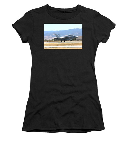 Women's T-Shirt featuring the photograph Vr  Mcdonnell Douglas-f/a18 Hornet Departs Hollister Air Show by John King