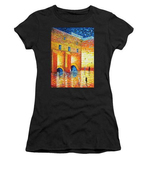 Women's T-Shirt (Athletic Fit) featuring the painting Wailing Wall Original Palette Knife Painting by Georgeta Blanaru