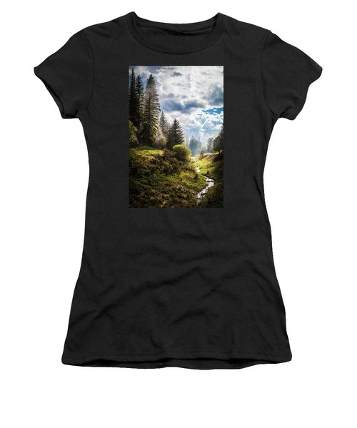 Waiting Out The Rain Women's T-Shirt (Athletic Fit)