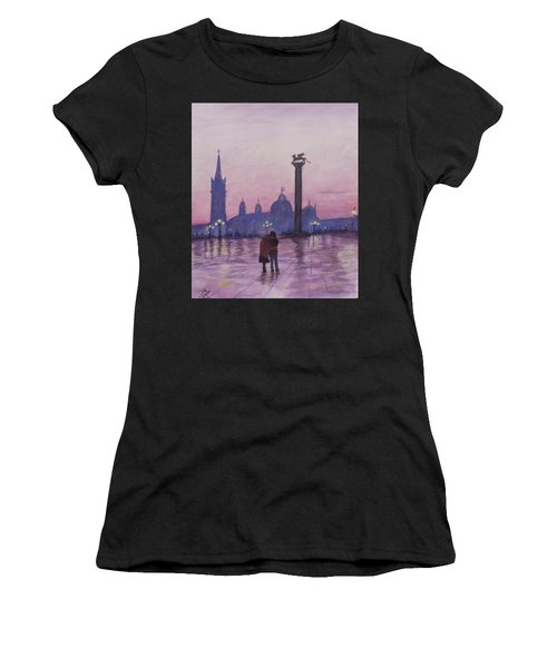 Walk In Italy In The Rain Women's T-Shirt (Athletic Fit)