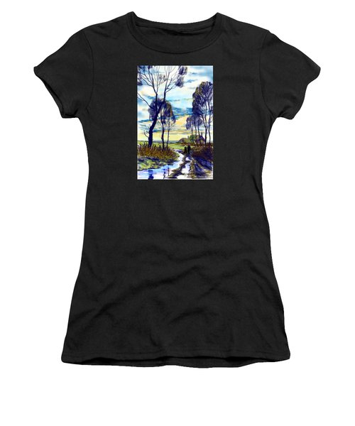 Walk On A Wet Road Women's T-Shirt (Athletic Fit)