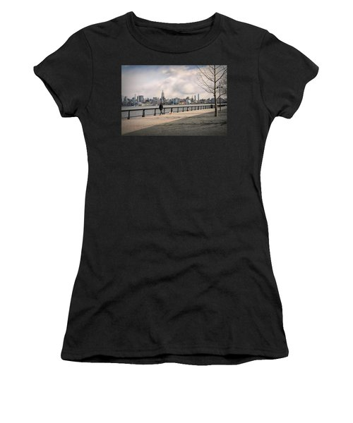 Walking Along Hoboken's Hudson River Waterfront Walkway Women's T-Shirt (Athletic Fit)