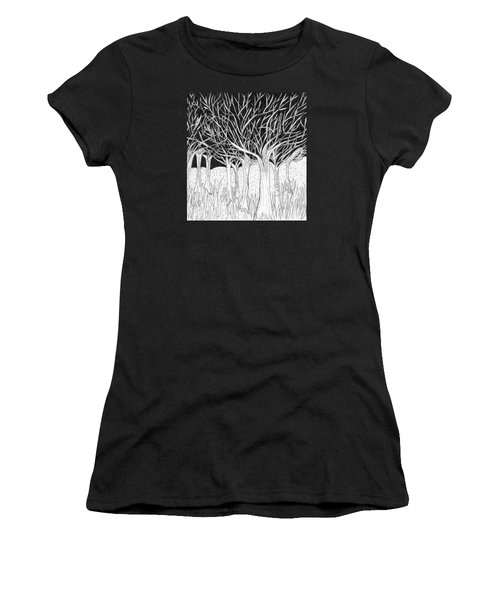 Walking Out Of The Woods Women's T-Shirt (Junior Cut) by Lou Belcher