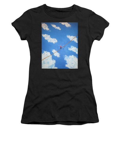 Women's T-Shirt (Junior Cut) featuring the painting Walking The Line by Thomas Blood