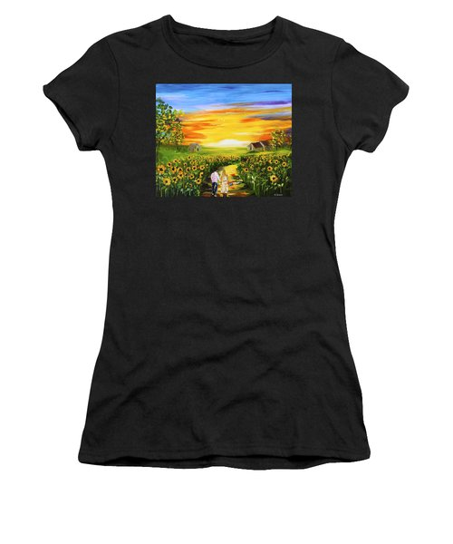Walking Through The Sunflowers Women's T-Shirt