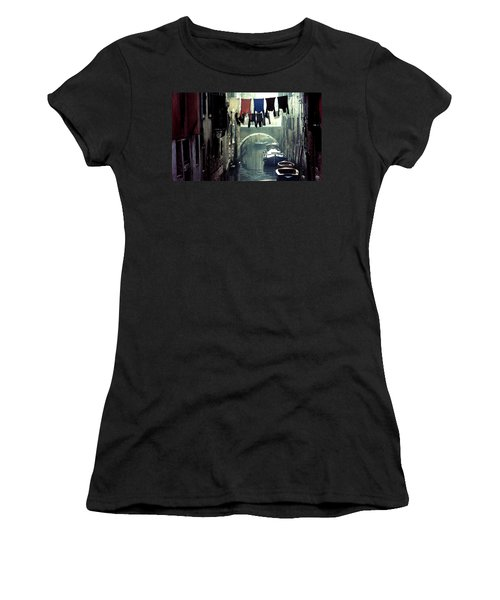 Women's T-Shirt featuring the photograph Washday In Venice Italy by Wayne King