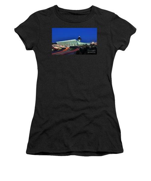 Washington Dulles International Airport At Dusk Women's T-Shirt (Junior Cut) by Paul Fearn
