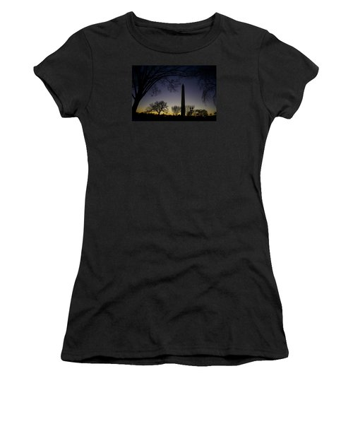 Washington Monument At Twilight With Moon Women's T-Shirt