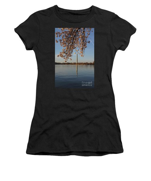 Washington Monument With Cherry Blossoms Women's T-Shirt