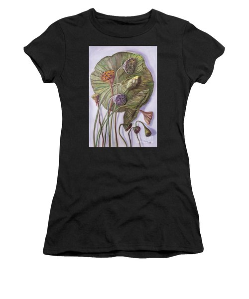 Water Lily Seed Pods Framed By A Leaf Women's T-Shirt