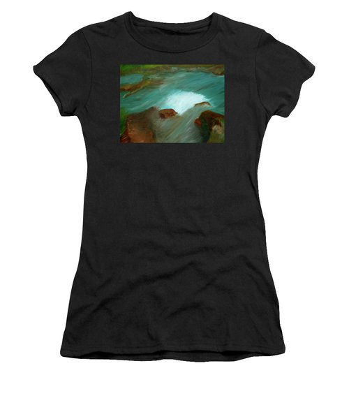 Water Over The Rocks Women's T-Shirt (Athletic Fit)
