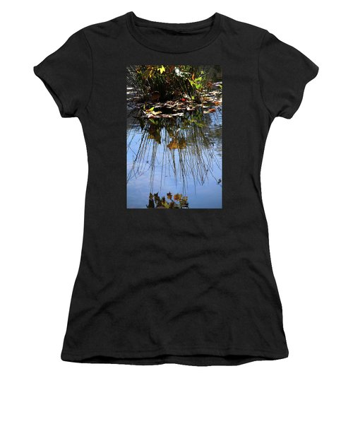 Water Reflection Of Plant Growing In A Stream Women's T-Shirt
