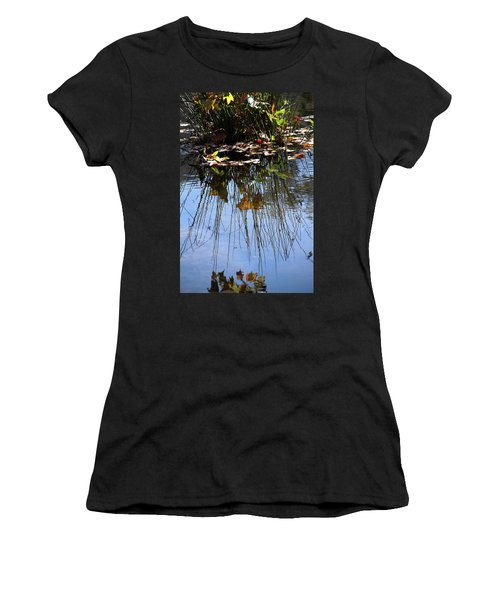 Water Reflection Of Plant Growing In A Stream Women's T-Shirt (Athletic Fit)