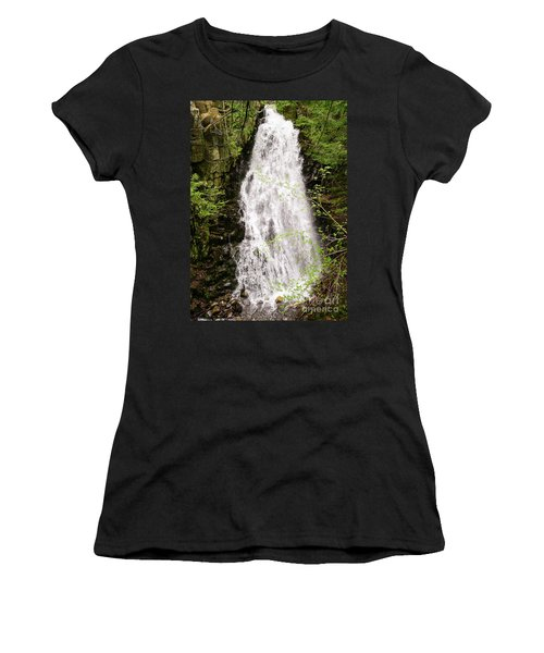 Water Roaring Down Cascade Falls, Farmington, Maine  -30377 Women's T-Shirt