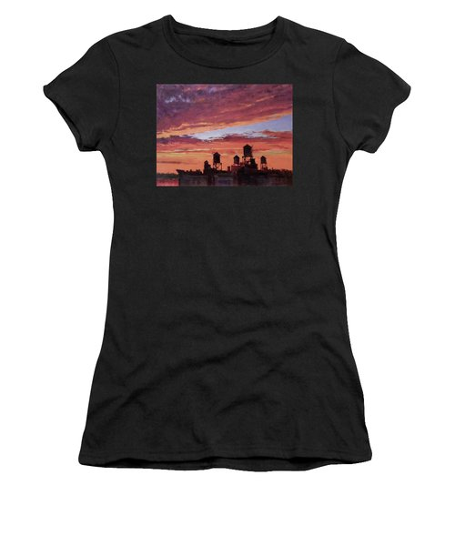 Water Towers At Sunset No. 4 Women's T-Shirt (Athletic Fit)