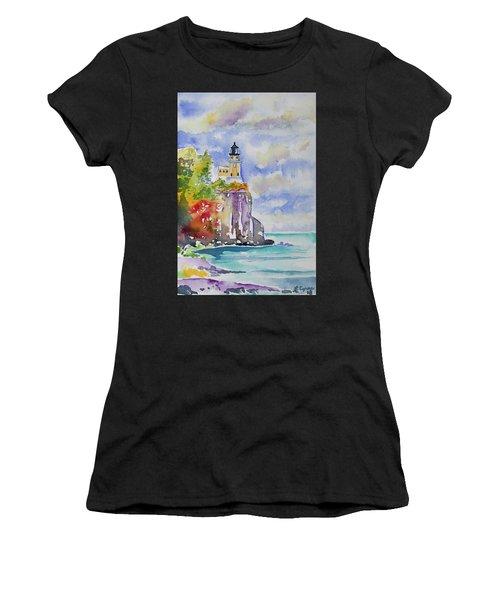 Watercolor - Autumn At Split Rock Lighthouse Women's T-Shirt