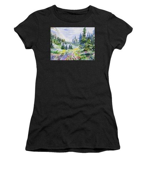 Watercolor - Colorado Summer Scene Women's T-Shirt