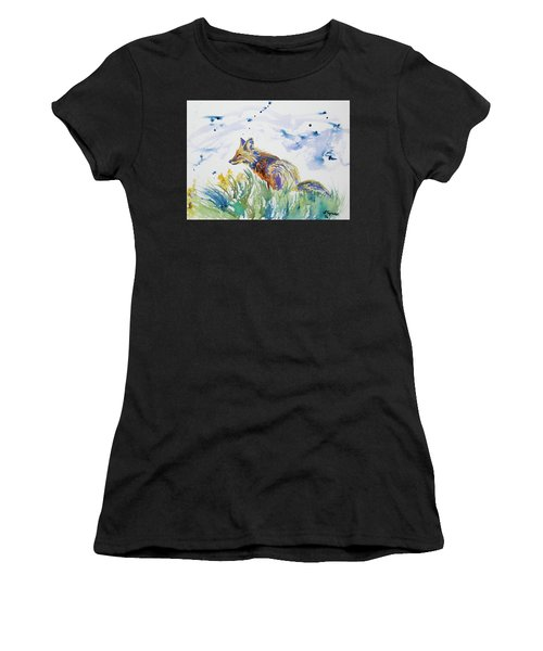 Watercolor - Fox On The Lookout Women's T-Shirt