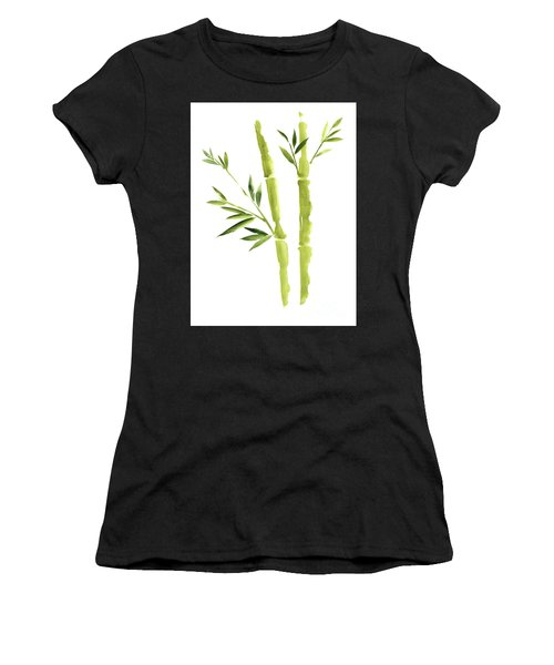 Bamboo Stick Wall Paper Art, Watercolor Living Room Decor Illustration, Green Bamboo Leaves Painting Women's T-Shirt