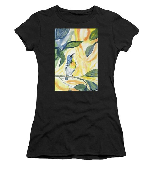 Watercolor - Northern Parula In Song Women's T-Shirt