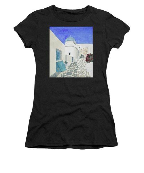 Watercolor - Paros Church And Street Scene Women's T-Shirt