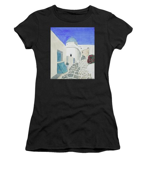 Watercolor - Paros Church And Street Scene Women's T-Shirt