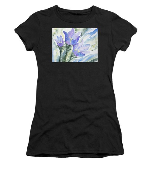Watercolor - Pasque Flowers Women's T-Shirt