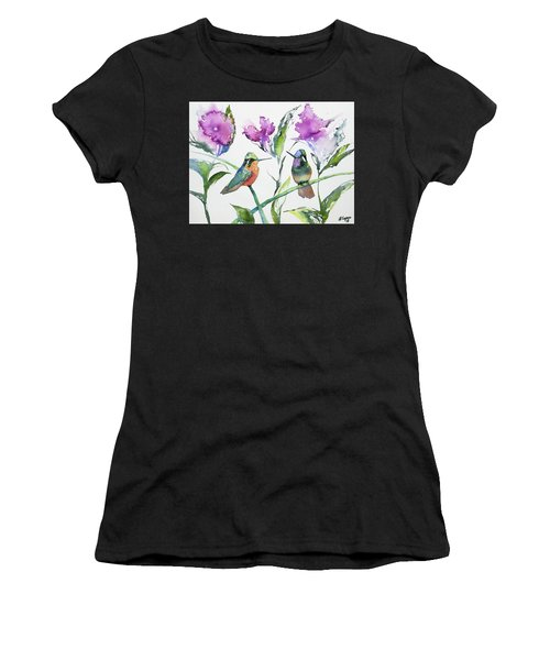 Watercolor - Purple-throated Mountain Gems And Flowers Women's T-Shirt