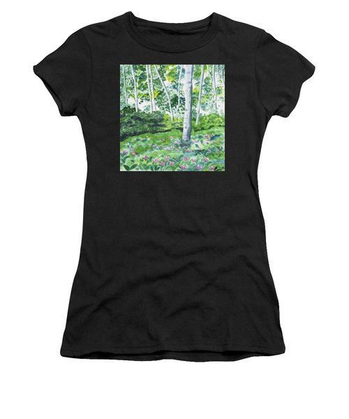 Watercolor - Spring Forest And Flowers Women's T-Shirt