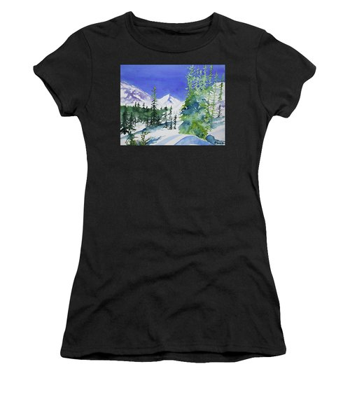 Watercolor - Sunny Winter Day In The Mountains Women's T-Shirt