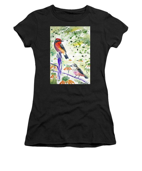 Watercolor - Vermilion Flycatcher Pair In Quito Women's T-Shirt