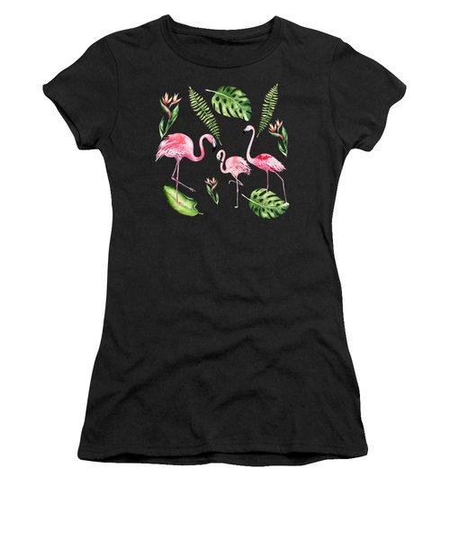 Watercolour Flamingo Family Women's T-Shirt
