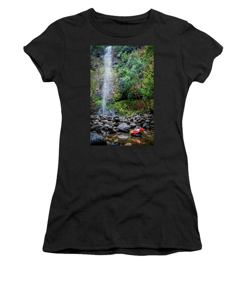 Waterfall And Flowers Women's T-Shirt