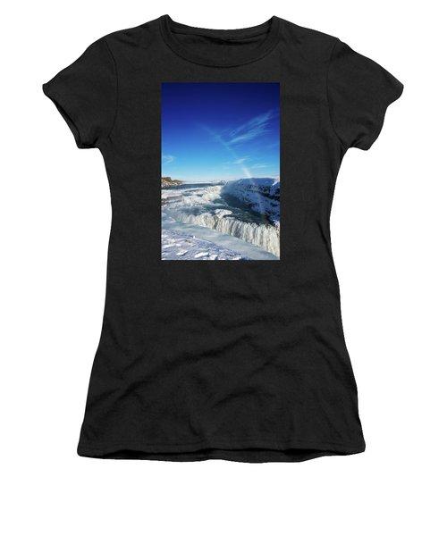 Women's T-Shirt (Junior Cut) featuring the photograph Waterfall Gullfoss In Winter Iceland Europe by Matthias Hauser