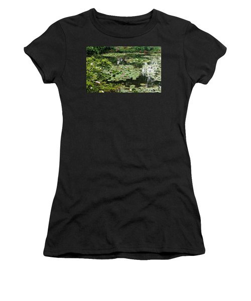 Women's T-Shirt (Junior Cut) featuring the photograph Waterlilies At Monet's Gardens Giverny by Therese Alcorn