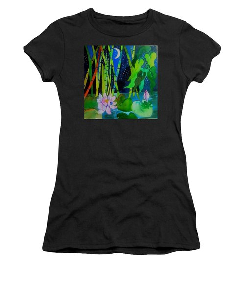 Waterlillies At Midnight Women's T-Shirt (Athletic Fit)
