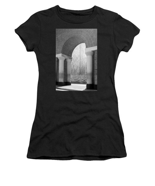 Waterwall And Arch 3 In Black And White Women's T-Shirt (Athletic Fit)