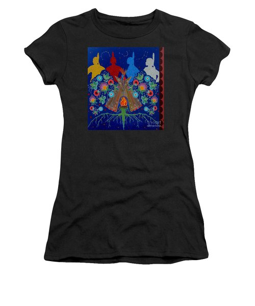 Women's T-Shirt (Athletic Fit) featuring the painting We Are One Bond by Chholing Taha