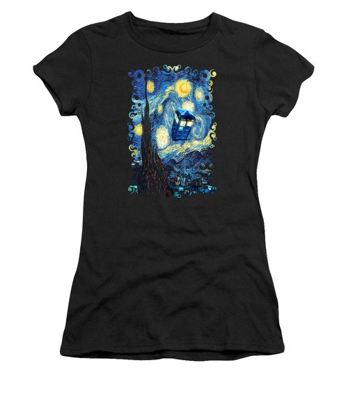 Weird Flying Phone Booth Starry The Night Women's T-Shirt (Junior Cut) by Three Second