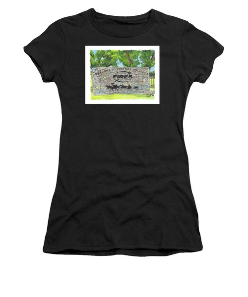 Women's T-Shirt featuring the painting Welcome Sign Fort Sill by Betsy Hackett