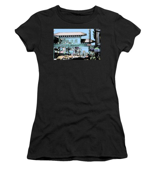 Welcome To Chinatown Sign Blue Women's T-Shirt (Athletic Fit)