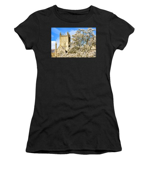 Wells Cathedral And Spring Blossom Women's T-Shirt (Athletic Fit)
