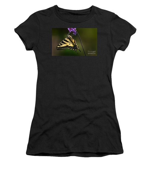 Western Tiger Swallowtail Butterfly On Purble Verbena Women's T-Shirt