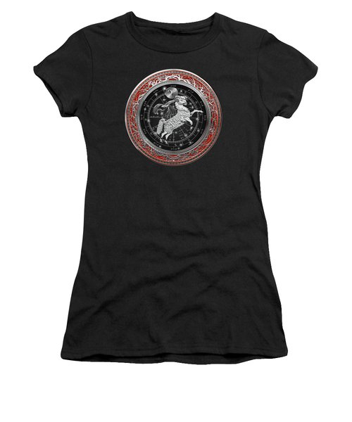 Western Zodiac - Silver Aries -the Ram On Red Velvet Women's T-Shirt (Athletic Fit)