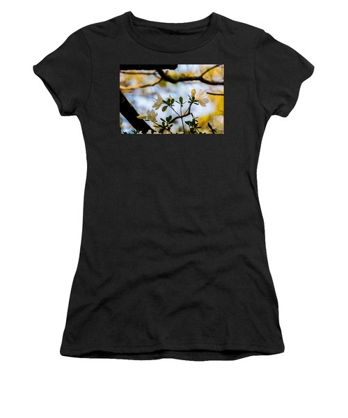 Women's T-Shirt (Junior Cut) featuring the photograph Whie Azaleas Under A Dogwood Tree by John Harding