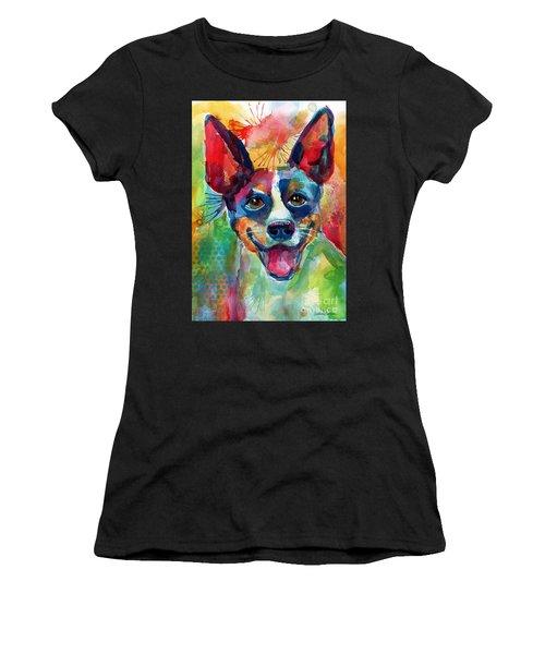 Whimsical Rat Terrier Dog Painting Women's T-Shirt
